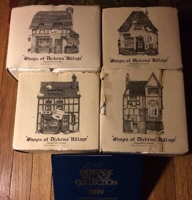 Lot 4 Dept 56 The Shops of Dickens Village Shops Bakery Candle Grocer Baskets