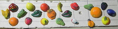 Group Of 21 Vintage China Realistic Buttons Of Fruit & Veggies