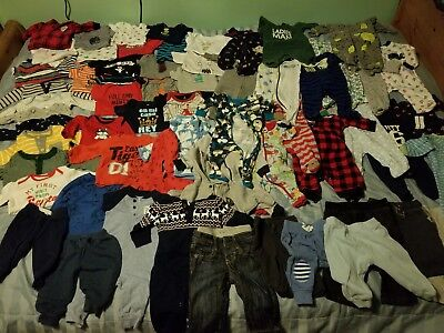 64 PIECE HUGE LOT! 3-6 month baby boy clothes lot- baby gap, just 1 you,Carter's
