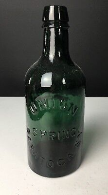 Union Spring Saratoga NY Emerald Green Mineral Water Bottle 1 Pint Circa 1865