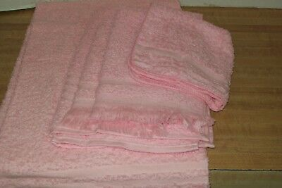 1960 Vintage New In Package Cannon Bath Towel Set SOLID PINK  NOS 5 Piece Set