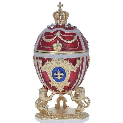 """2.75"""" Lions Holding Royal Crown Faberge Inspired Easter Egg"""