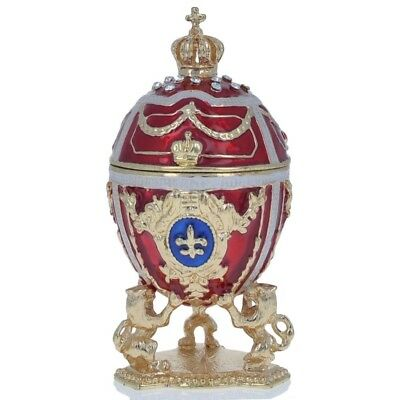 Lions Holding Royal Crown Royal Inspired Russian Easter Egg 2.75 Inches