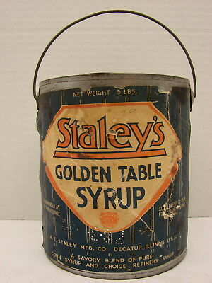 5 lb. Staley''s Golden Table Syrup Pail!! Decatur, Ill