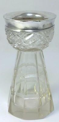 Antique hallmarked Silver-collared Crystal Glass Bud Vase  – 1910 (269g)