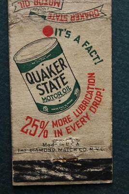 1940-50s Los Angeles,California Quaker State Motor Oil Refining Co. matchbook!