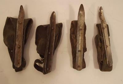 Vintage Set of 4 Corn Huskers With Leather Straps Old Farm Hand Tool Find