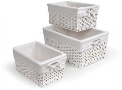 White Three Basket Set With Liners