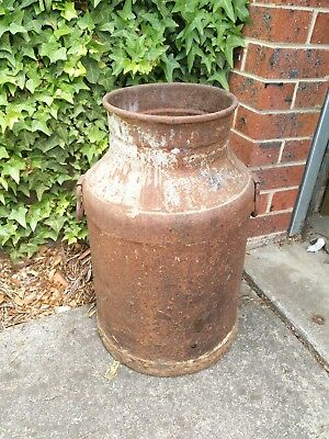 Vintage Old Rusty Milk Cream Can Tin Churn Rustic Industrial Country Vase Pot