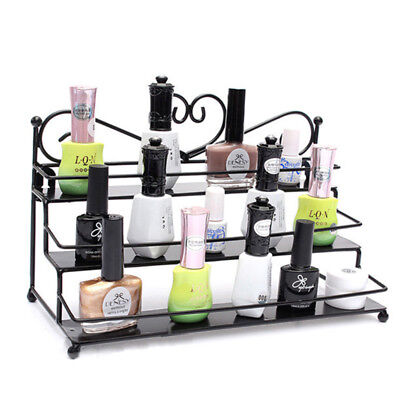 New 3 Tier Metal Nail Polish Rack Organizer Display Shelf Mount Storage Stand#