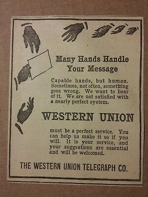 1916 Western Union Telegraph Co Ad Many Hands Handle Your Message