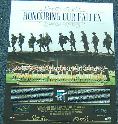 Port Adelaide Hand Signed Boak Hinkley Anzac Day Honouring Our Fallen Afl Print