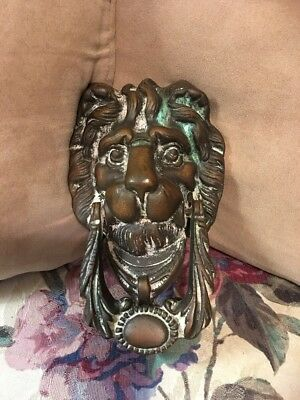 Victorian Antique Brass Bronze Door Knocker Lion Head Vintage Old Lions Gilt