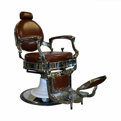 Professional Barber Vintage Cutting Chair Brown Adjustable Head Rest Reclining