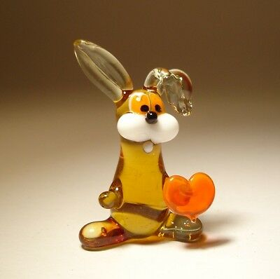 "Blown Glass ""Murano"" Figurine Animal Small Brown Rabbit Bunny with Red Heart"
