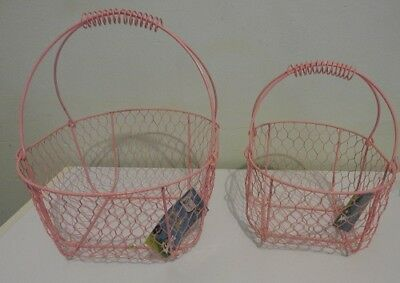Pink Wire Baskets with Handles x 2 sizes Set
