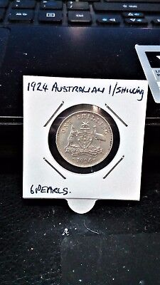 silver-australian 1924 one shilling silver coin...6 pearls...