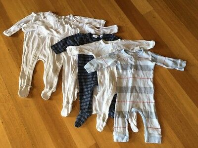 Purebaby Organic Sleep Suits/One Piece/Jumpsuits Bundle Size 000