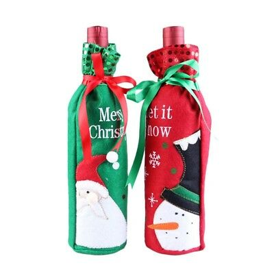 2Pcs Christmas Decoration Snowman/Santa Claus Sequins Red Wine Bottle Cover Bags