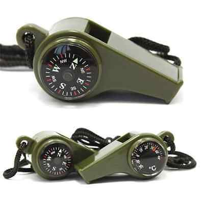 3 in1 Emergency Survival Gear Camping Hiking Whistle Compass Thermometer