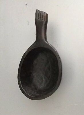 Vintage  Philippine Ifugao Bowl with a Carving of a Foot on the Handle
