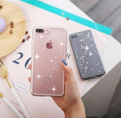 Glitter Bling ShockProof Silicone Soft TPU Case Cover For iPhone & Samsung