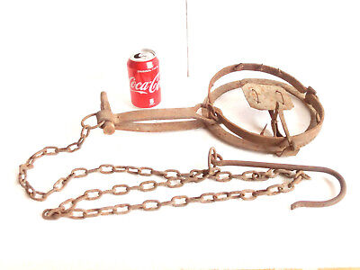 "1800""s Antique HUGE Wrought Iron Very Strong SPRING Trap > BEARS  WOLVES .. etc."