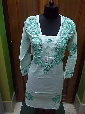 "M 40"" Handmade 100% Cotton Ethnic Chikan Embroidery Kurta Kurti Top Blouse Tunic"