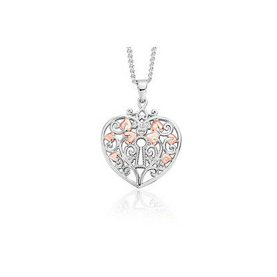 "BRAND NEW Clogau Silver & Rose Gold Kensington Heart Pendant (18"") £20 off!"