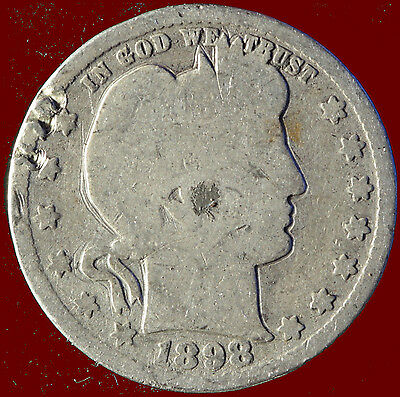 1898-P Barber 90% Silver Quarter Ships Free. Buy 5 for $2 off