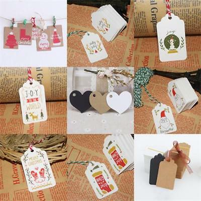 100x Christmas Kraft Paper Hang Tags Wedding Party Favor Label Price Gift Cards~