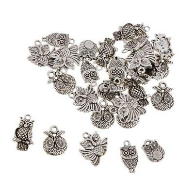 30pcs Owl Alloy Charms Pendant Beads DIY Jewelry Findings Craft Tibet Silver