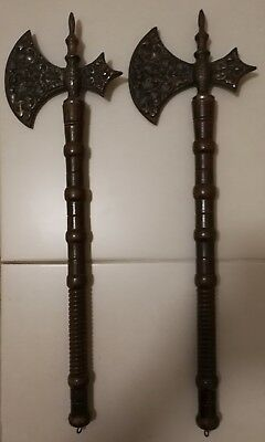 Medieval, Viking, brass, wooden, ornate decorative axes, hang on wall -not sharp