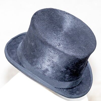 Patey brushed silk top hat hunting dressage riding classic hard'nd interior 58cm