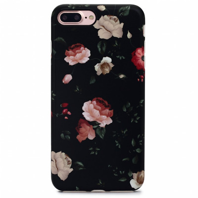 Protective Case Cover for iPhone 7 Plus iPhone 8 Plus Black Flower Floral Women