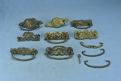Antique MIXED LOT of 8 PRESSED BRASS BACK PLATES BAILS POSTS HARDWARE #03726