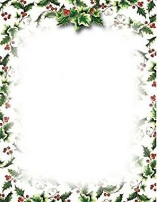 """NWT Geographics #49736 Holly & Ivy 80-Count Letterhead 8.5""""x11"""" Christmas Green"""