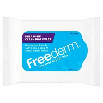 Freederm Antibacterial Deep Pore Cleansing Anti Spot Acne Wipes x 25 Healthcare