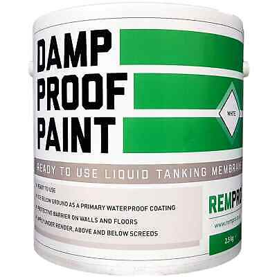Rempro 2.5kg White Damp Proof Membrane Paint - DPM Water Proofing Walls & Floors