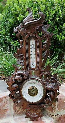 Antique French Carved Oak Barometer Thermometer Winged Griffon Acanthus Rosettes