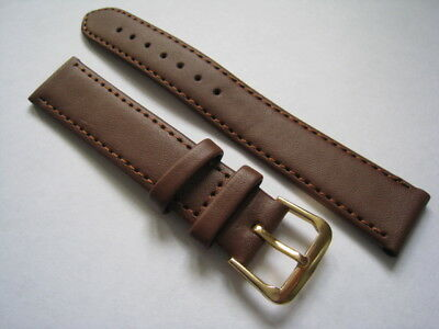 Brown leather watch straps. Stitched with gilt buckle. 18mm to 24mm. From UK
