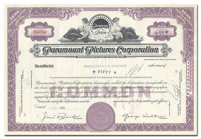 Paramount Pictures Corporation Stock Certificate