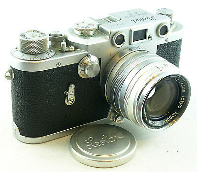 Very Bright and Clean LEOTAX Japan Leica Copy w/Topcor f/2 Lens, Cap and Case