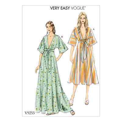 Vogue Sewing Pattern V9253 Misses' Deep-V Kimono-Style Dresses with Self Tie