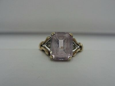 Vintage 10K Yellow Gold Pink Sapphire & Clear Quartz  Ring Weight 2.9G Size 8