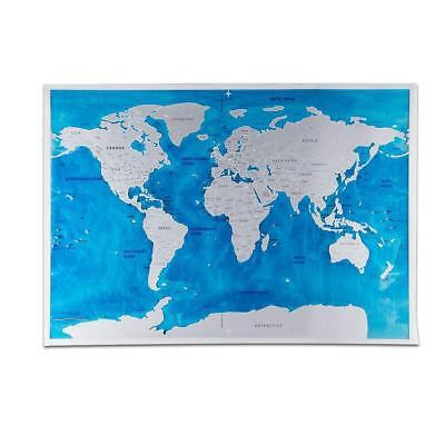 UK Large Ocean Sea Scratch Off World Map EditionTravel Poster Journal Log Gift