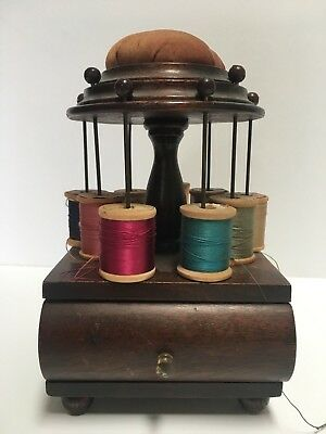 Antique wooden sewing accessory box