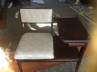 1940's 1950's wood Telephone Bench gossip chair table