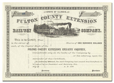 Fulton County Extension Railway Company Stock Certificate (Illinois)