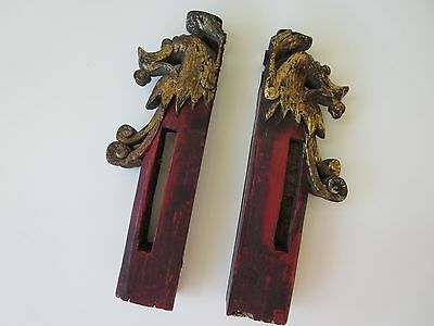 Antique Wooden Chinese Architectural Panel Hand Carved Figures Dragon Red Gold